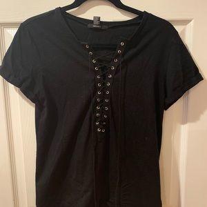 Black Lace Up T Shirt